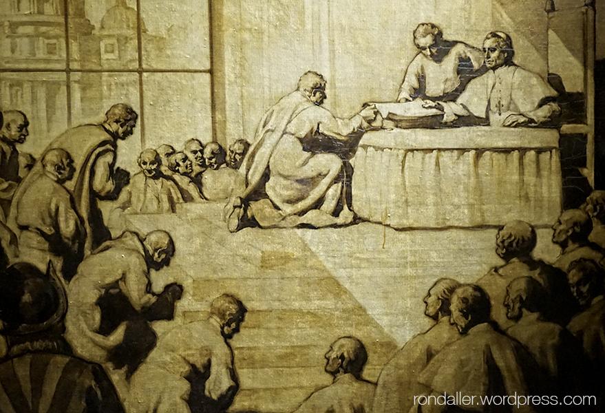 Juliana i Semproniana. Pintura de Miquel Massot que representa el moment de presentar la petició al Vaticà.