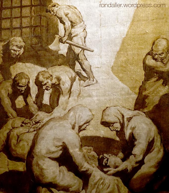 Detall d'una pintura amb el martiri de Juliana i Semproniana. Mataró