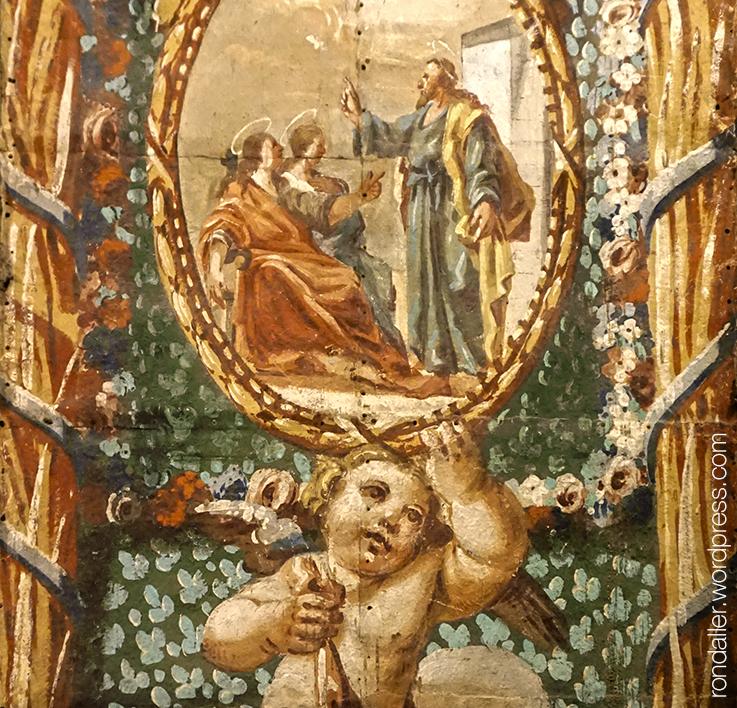 Detall d'un cartró pintat del segle XVIII que representa Sant Cugat parlant amb Juliana i Semproniana. Mataró