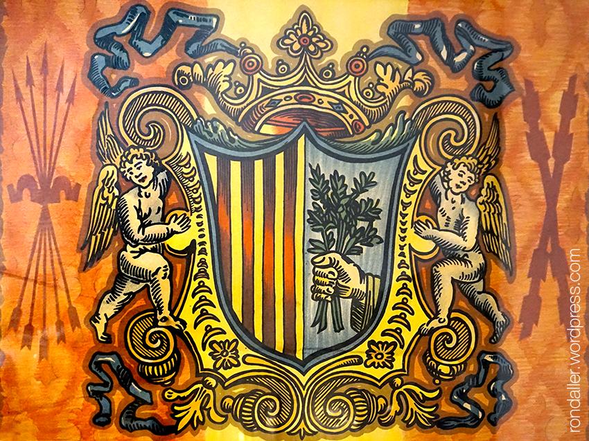 Escut de Mataró al cartell de les festes de 1940, envoltat de motius franquistes.