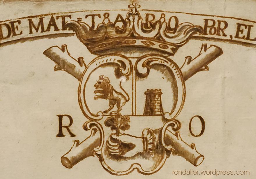 Escut de Mataró en un plànol de la ciutat del 1779.