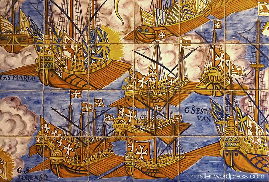 Detall de diverses fragates en ple combat naval.