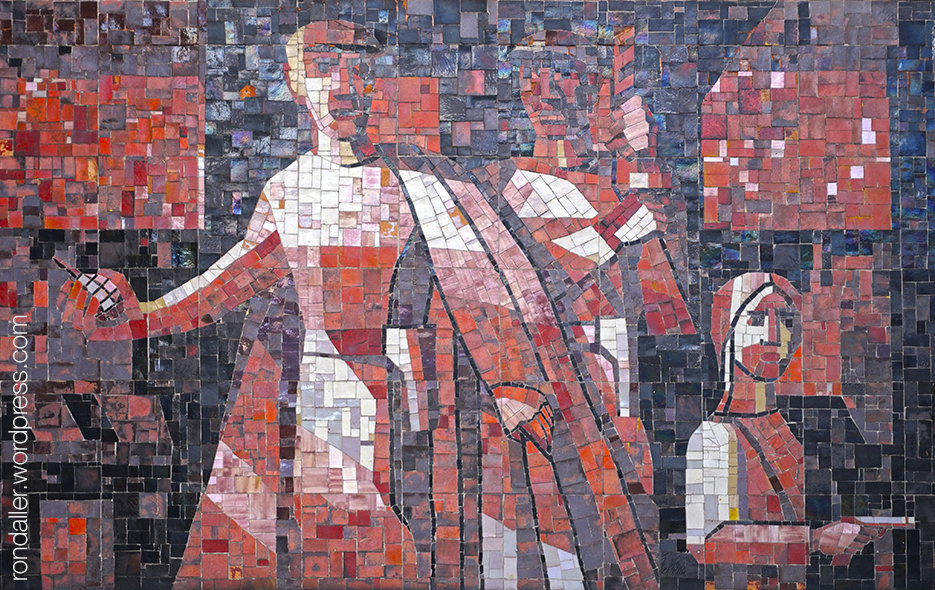 Arquitectura socialista a Varsòvia. Mosaic que recorda l'atac a una cafeteria el 1943.