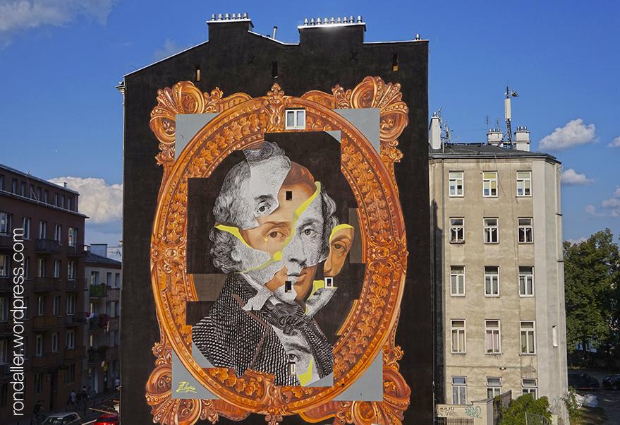 Itinerari per Varsòvia. Mural que ocupa la mitgera d'un bloc de pisos, amb el retrat de Mozart.
