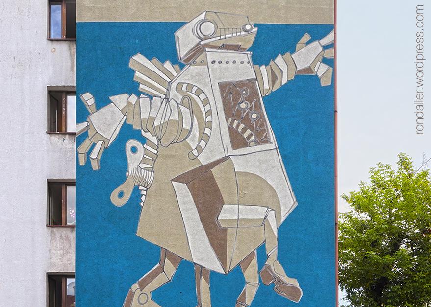 Itinerari per Cracòvia. Mural en una mitgera que representa un robot, en homenatge a Stanisław Lem.