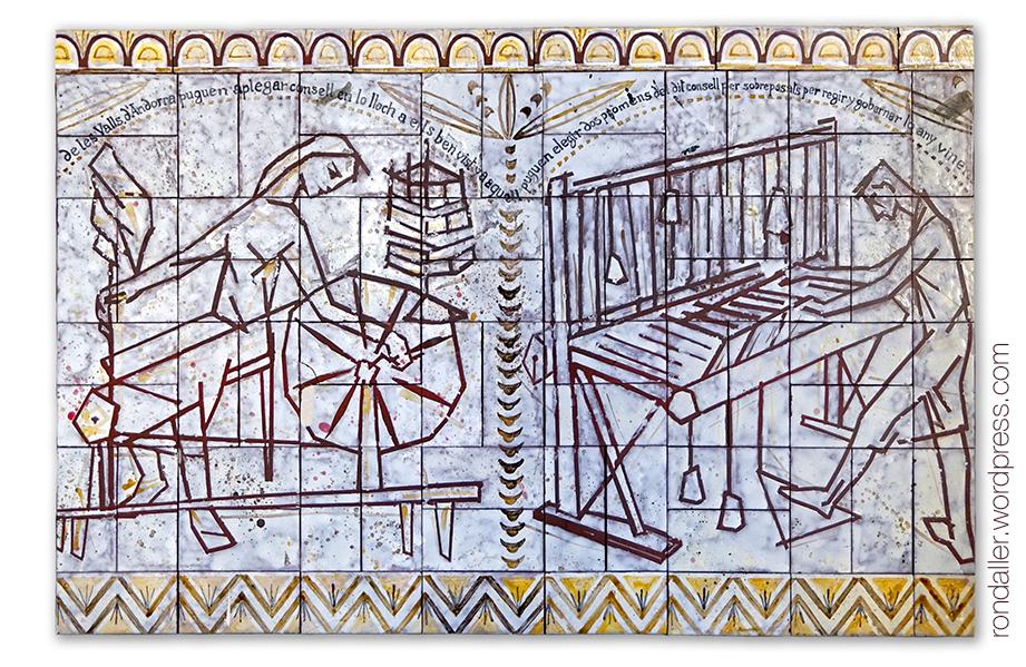 Itinerari per Escaldes-Engordany. Mural ceràmic a l'església de Sant Pere que representa antics oficis de paraires.