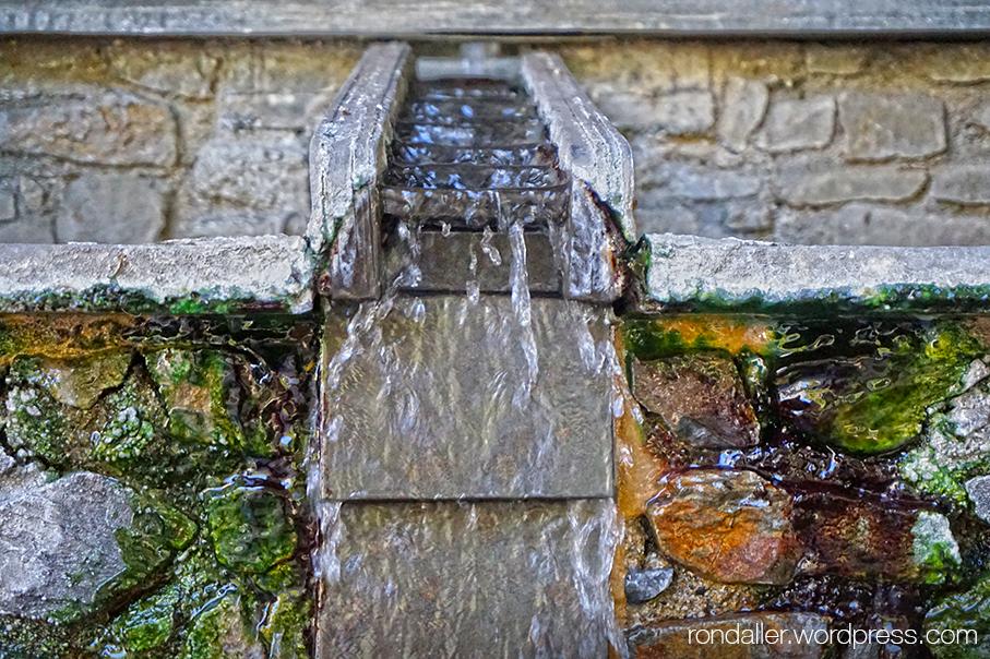 Itinerari per Escaldes-Engordany. Detall de la Font del Roc del Metge, amb l'aigua termal a 70ºC.