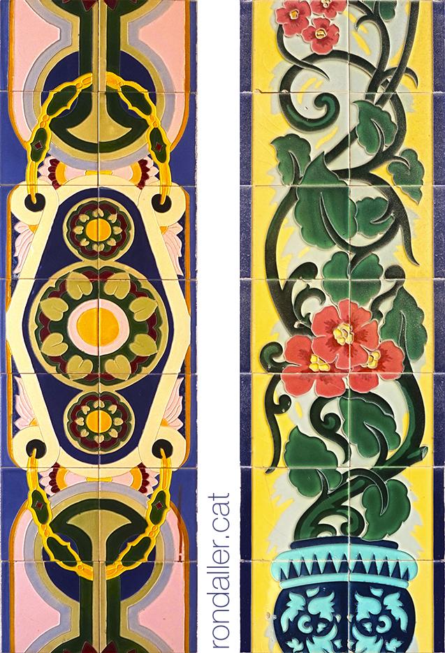 Brancals de Manises. Un amb un disseny de formes geomètriques i l'altre amb motius florals.