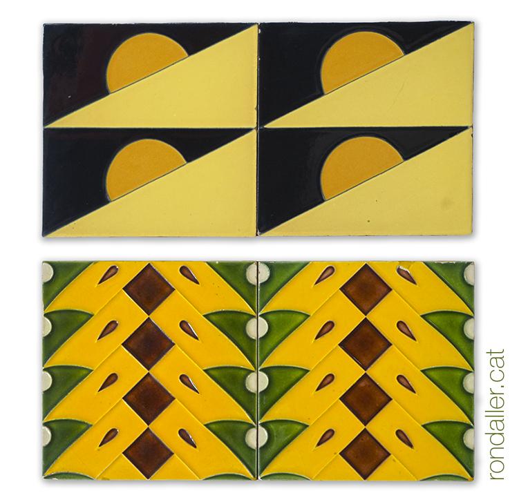 Rajoles del museu de la ceràmica de Manises amb motius geomètrics, realitzades els anys vint.
