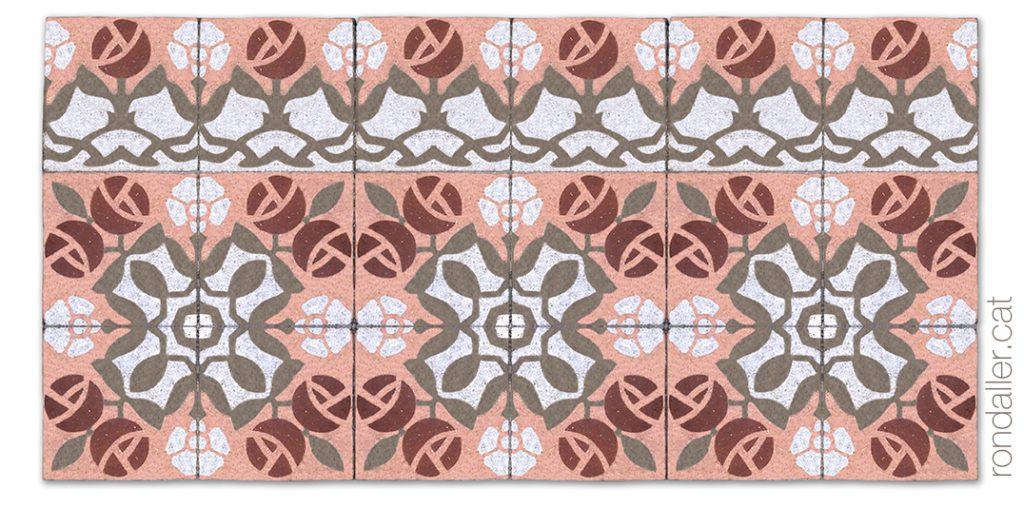 Paviment modernista de rajoles hidràuliques amb motius florals en un pis de les Cases Joan Viladot.