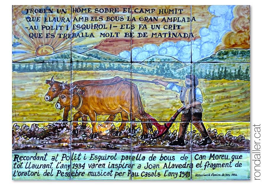 Plafó ceràmic a Cal Moré a Das amb un fragment del poema El Pessebre de Joan Alavedra Segurañas.
