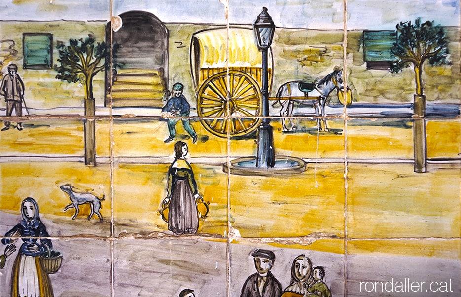 Detall del mural ceràmic de Guivernau a la font del Pou del Comú del Prat de Llobregat.