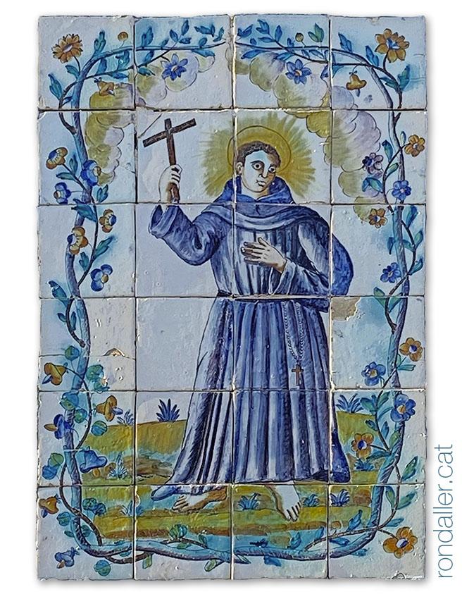 Plafó ceràmic amb Sant Joan de la Creu a l'ermita dels Benisants Abdó i Senent a Sueca.