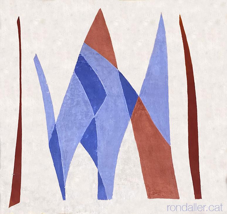 Obres abstractes anònimes pintades a la façana d'un edifici del 1958 al carrer Loreto al barri de Les Corts.