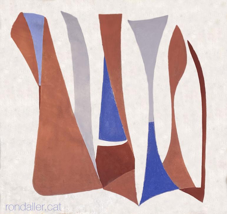 Obres abstractes anònimes pintades a la façana d'un edifici del 1958 al carrer Loreto.