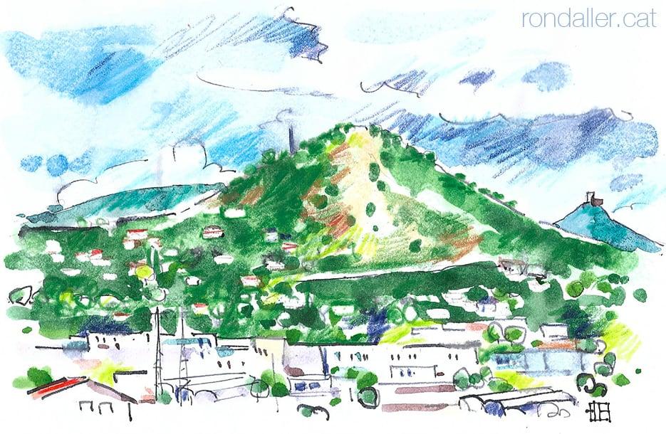 Aquarel·la de la muntanya del Montcabrer (Maresme)