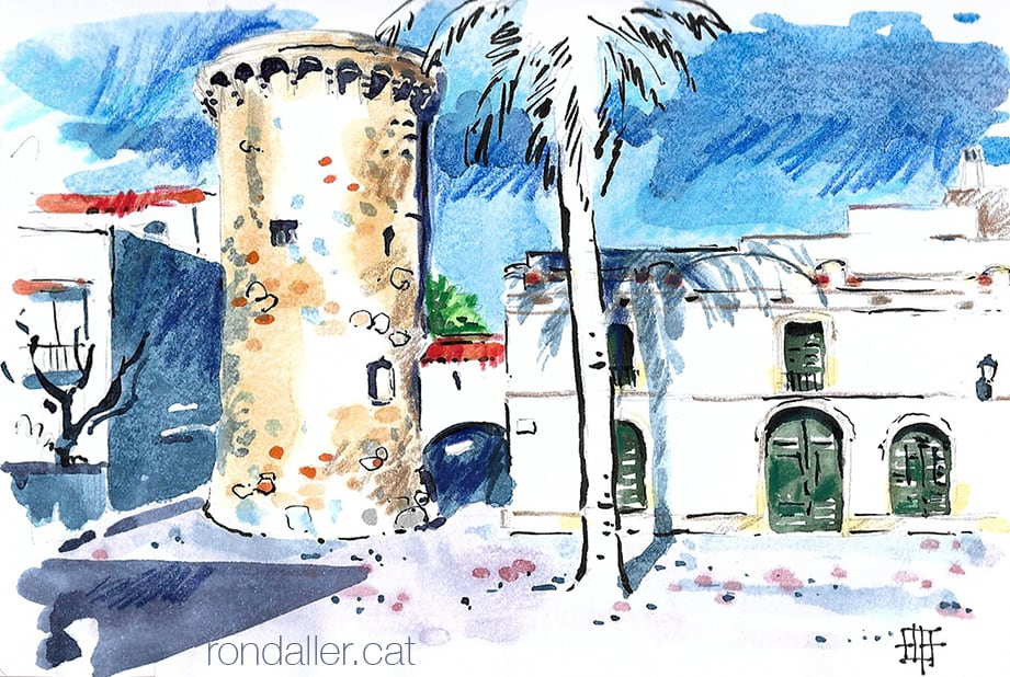 Aquarel·la de la Torre d'en Nadal de Vilassar de Mar.