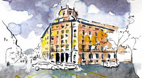 Aquarel·la de l'antic Institut Nacional de Previsió de Barcelona, actualment seu de l'ICS.