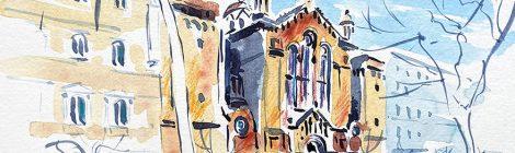 Aquarel·la de l'església del Sagrat Cor dels Jesuïtes de Barcelona projectada per Joan Martorell