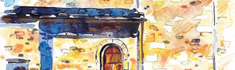 Aquarel·la de l'església de Sant Iscle i Santa Victòria de Sanavastre al terme de Das a la Baixa Cerdanya.
