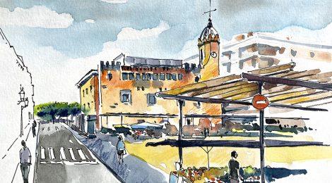 Aquarel·la de l'Ajuntament i la plaça del Mercat de Sant Feliu de Guíxols (Baix Empordà).