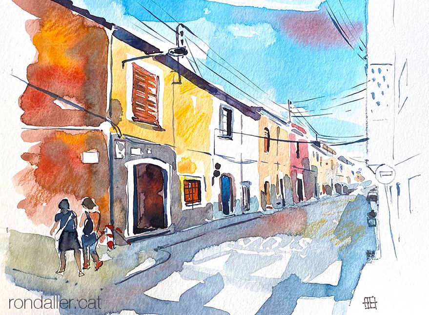 Aquarel·la del carrer Sant Ramon de Vilassar de Mar (Maresme).