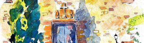 Simbolisme del xiprer. Portalada de l'església de la Santa Creu de Cabrils (Maresme).