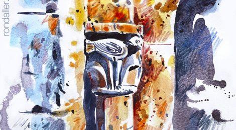 Aquarel·la d'un capitell romànic de l'església de Sant Llorenç d'Adri a la Vall de Llémena (Gironès).