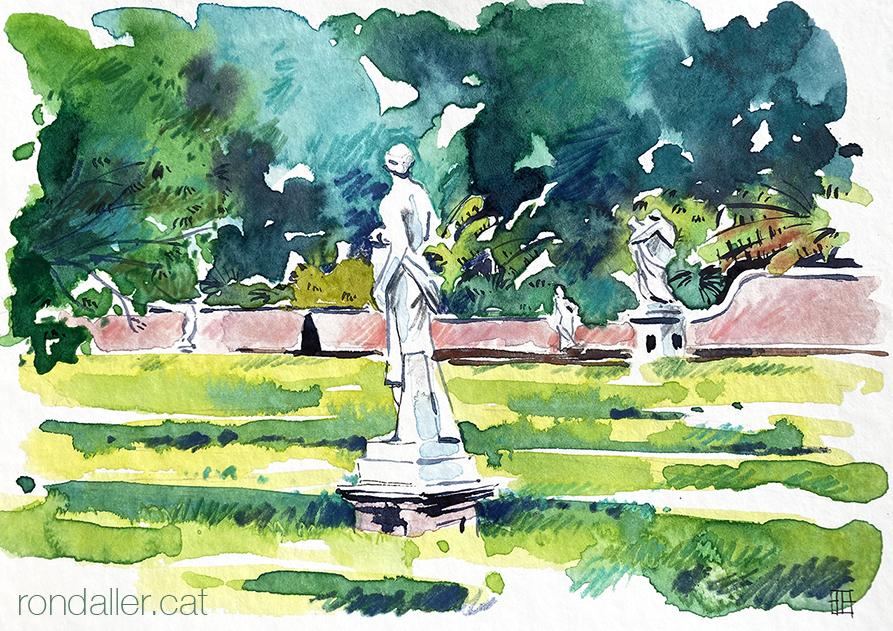 Aquarel·la del Jardí de Monforte d'estil neoclàssic al barri d'El Pla del Real de València.