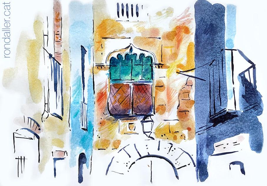 Aquarel·la de Can Cavaller, Can Riusec o Cal Marquès, habitatge de Josep Nicolau d'Olzina a Monistrol de Montserrat.