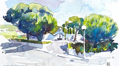 Aquarel·la de l'entrada del cementiri de Cabrera de Mar (Maresme).