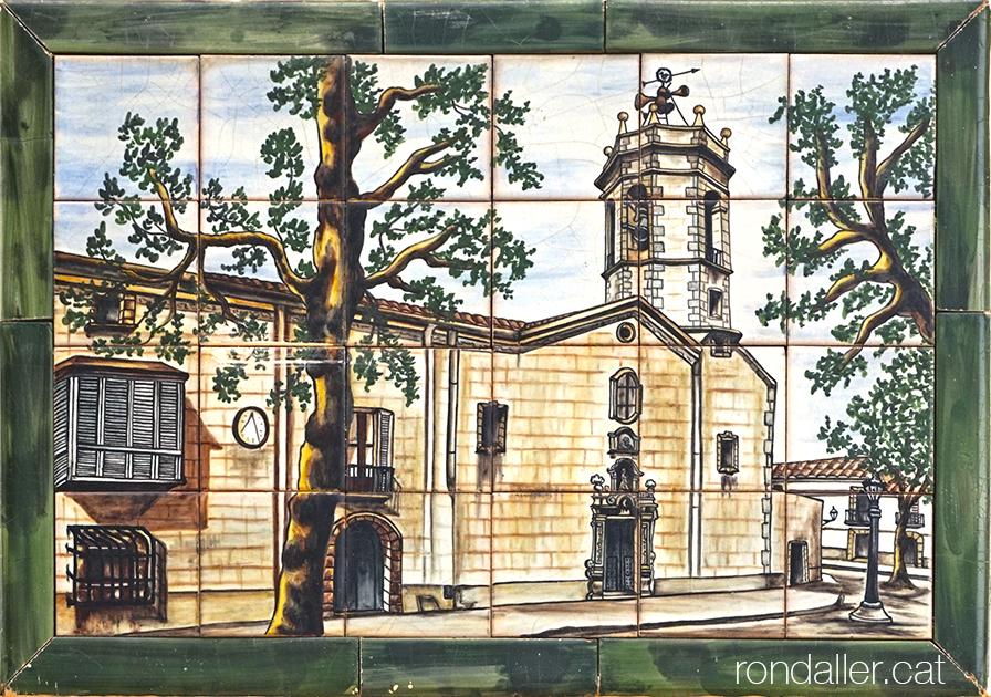 Plafó ceràmic de la masia Cabot de Vilassar de Mar amb la imatge de l'antiga església.