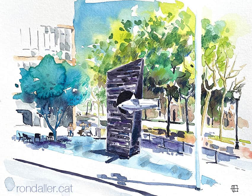 Aquarel·la del monument a Narcís Monturiol a Barcelona, realitzat el 1963 per Subirachs.