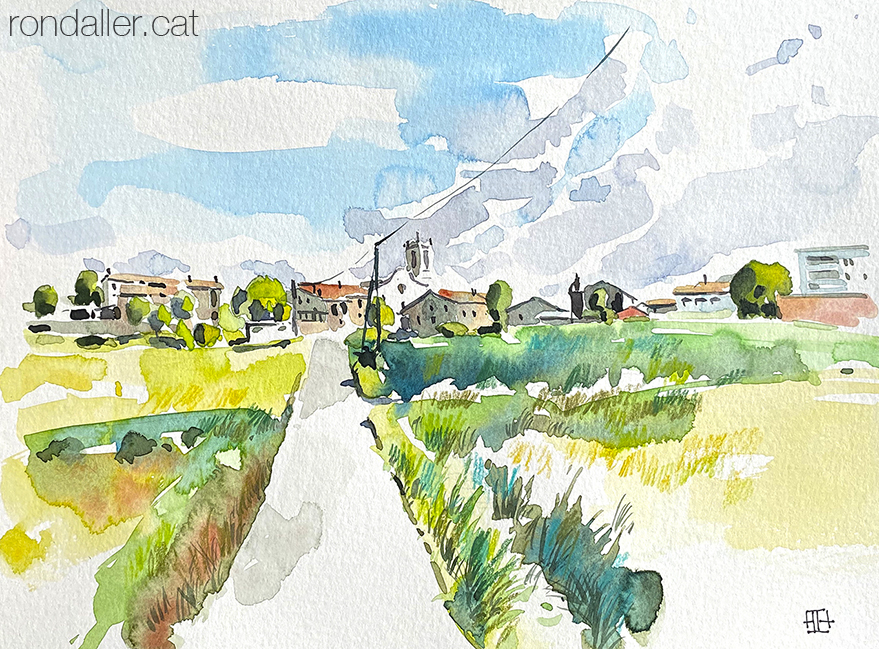 Aquarel·la de Sant Bartomeu del Grau, situat a l'altiplà del Lluçanès, dins la comarca d'Osona.