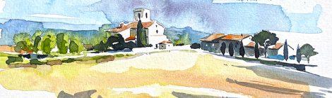 Aquarel·la de Sant Fruitós de Balenyà o santuari de la Mare de Déu de l'Ajuda a Osona.