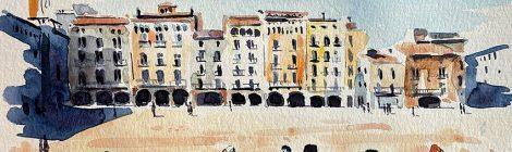 Aquarel·la de la plaça Major o Mercadal de Vic amb l'edifici de Can Girbal.