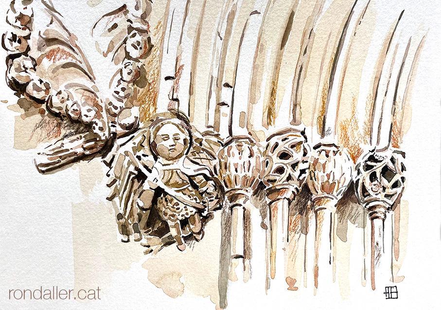 Aquarel·la de l'antic portal gòtic de l'església de Vilassar de Dalt, amb Sant Miquel matant el drac.