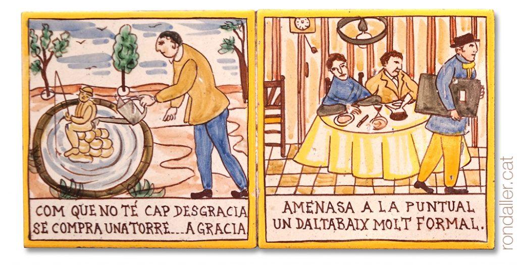 Rajoles de lAuca del Senyor Esteve al carrer Cremat de Terrassa, realitzades per Pahissa.