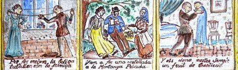 Rajoles de l'Auca del Senyor Esteve al carrer Petritxol, realitzades per Jordi Aguadé.