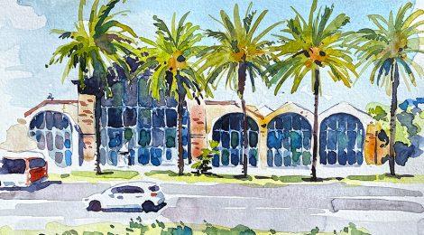 Aquarel·la de l'edifici de les Drassanes, actualment seu del Museu Marítim de Barcelona.