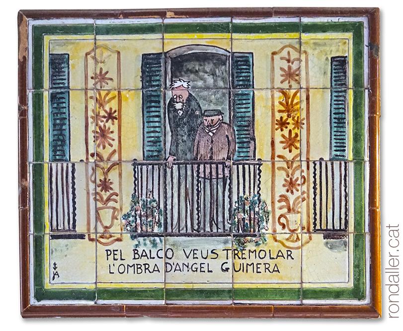 Plafó ceràmic de l'auca del carrer Petritxol de Barcelona, realitzat pel ceramista Jordi Aguadé.