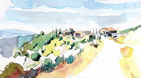 Aquarel·la amb una panorámica de la població i l'entorn natural de Tavertet (Osona).