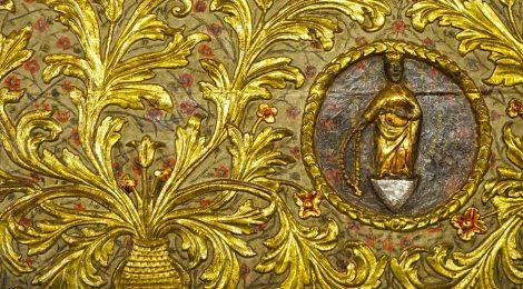 Visita a Bossòst (Vall d'Aran). Frontal d'altar barroc de l'església dera Mair de Diu dera Purificació.