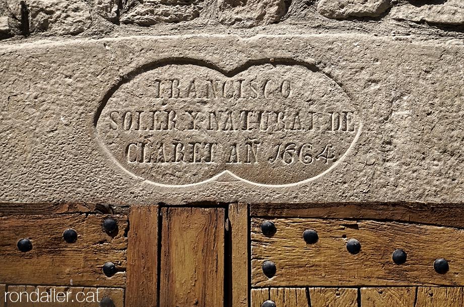 Inscripció del segle XIX a la llinda de Cal Jovans a Torà, Segarra, Vall del Llobregós.