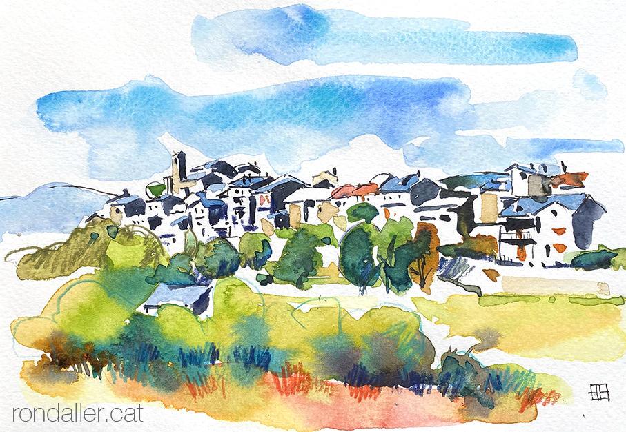 Aquarel·la amb una panoràmica de la vila medieval d'Estamariu a l'Urgellet, Alt Urgell.