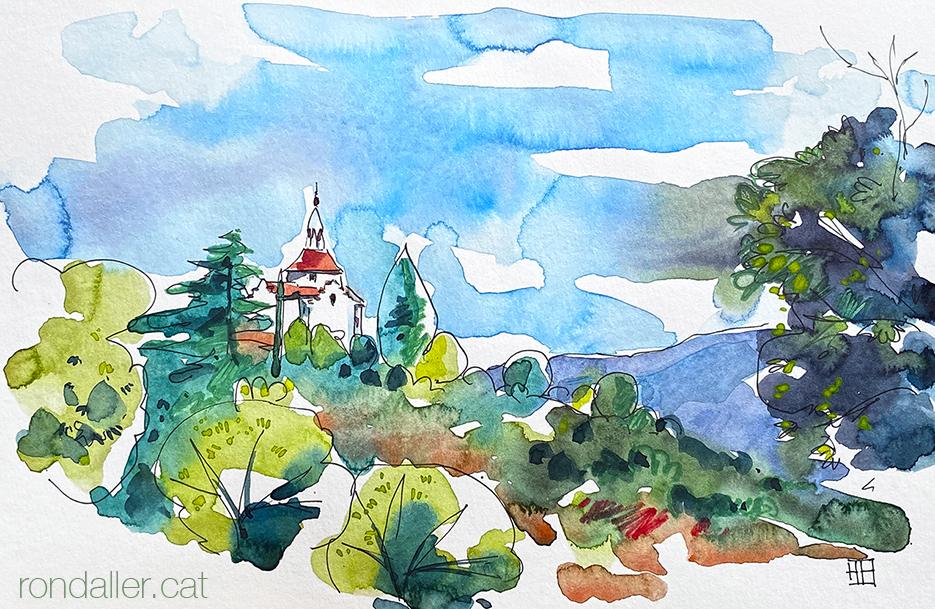 Ermita de Sant Antoni del Tossal. Aquarel·la amb la panoràmica que l'envolta.