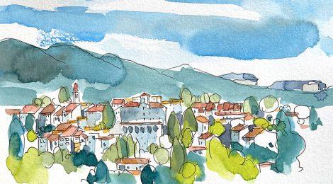Aquarel·la amb una panoràmica de Viladrau a Osona, població envoltada de natura.