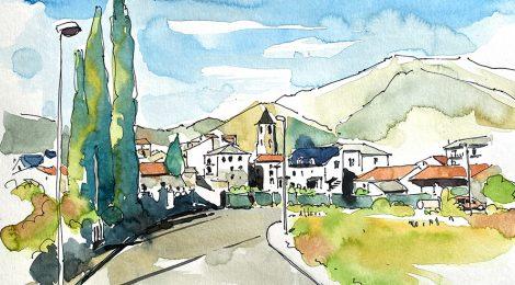 Aquarel·la amb una panoràmica de Vilaller, a l'Alta Ribagorça.