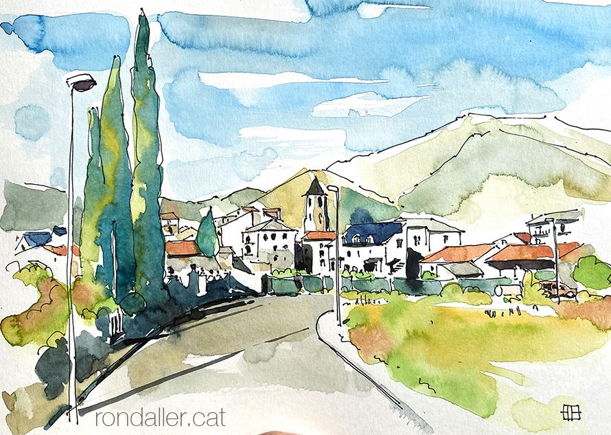els 10 articles més llegits el 2020. Aquarel·la amb una panoràmica de Vilaller, a l'Alta Ribagorça.
