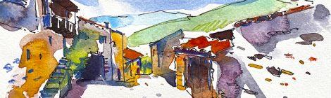 Aquarel·la d'un dels carrers d'Arsèguel, al Baridà (Alt Urgell).